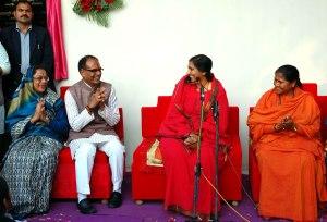 Madhya Pradesh chief minister  Shivraj Singh Chouhan with Sadhvi Rithambara during the inauguration of  Samvid Gurukulam run by Sadhvi Rithambara