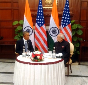 "Prime Minister, Narendra Modi and US President, Barack Obama recording the special episode of ""Mann ki Baat"", in New Delhi on January 27, 2015."