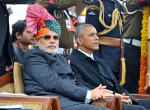 The Prime Minister, Narendra Modi and the Chief Guest US President,  Barack Obama witnessing the 66th Republic Day Parade 2015, in New Delhi on January 26, 2015
