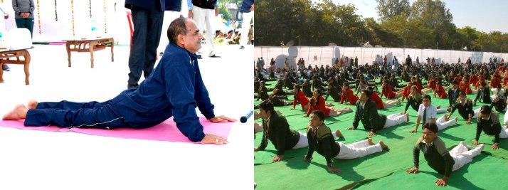 Shivraj Singh Chouhan performing yoga