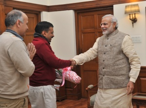Delhi Chief Minister-designate Arvind Kejriwal,along with AAP MLA Manish Sisodia, calls on the Prime Minister Narendra Modi, in New Delhi on February 12, 2015.