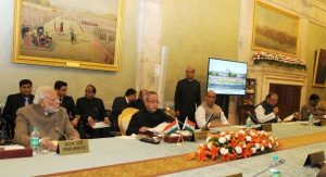 The President Pranab Mukherjee and Prime Minister Narendra Modi at the Conference of Governors, at Rashtrapati Bhavan in New Delhi on February 11, 2015.