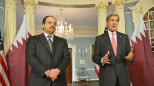 US Secretary of State John Kerry delivers remarks with Qatari Foreign Minister Khalid Al Attiyah at the U.S. Department of State.