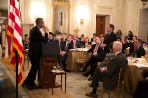 Utah Governor Gary Herbert asks President Barack Obama a question following the President's remarks to the National Governors Association in the State Dining Room of the White House, Feb. 23, 2015.