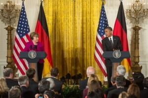 President Barack Obama and Chancellor Angela Merkel of Germany participate in a joint press conference in the East Room of the White House, Feb. 9, 2015. (Official White House Photo by Chuck Kennedy)