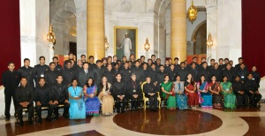 President Pranab Mukherjee with the Officers Trainees, attending IAS Professional Course Phase-I for 2014 Batch at Lal Bahadur Shastri National Academy of Administration (LBSNAA), Mussoorie, at Rashtrapati Bhavan, in New Delhi on February 20, 2015.