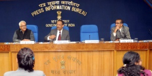 Secretary, Ministry of Coal Anil Swarup, flanked by S Bhattacharya, CMD , Coal India Ltd(CIL), addressing a Press Conference, in New Delhi on February 20, 2015.