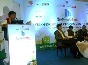 "Madhya Pradesh Urban Development and Environment Minister Kailash Vijayvargiya addressing the convention on the theme ""Development of Smart City-Next Gen Citizen"" in Bhopal on February 13, 2015"
