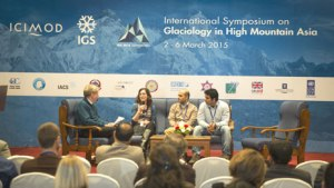Young Scientist Panel at the IGS Symposium, moderated by David Molden, Director General of ICIMOD.  Photo credit: Jitendra Bajracharya, ICIMOD