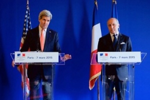 US Secretary of State John Kerry addresses journalists during a joint press conference with French Foreign Minister Laurent Fabius, Paris, March 7, 2015