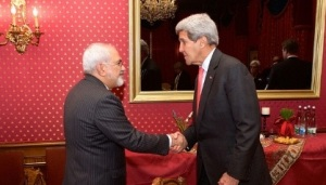 USSecretary o State John Kerry greets Foreign Minister of Iran Javad Zarif in Lausanne, Switzerland ahead of resumption of negotiations by their advisers about future o Iran's Nuclear Programme