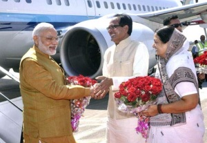 Prime Minister Narendra Modi was received at the Indore Airport by Madhya Pradesh Chief Minister Shivraj Singh Chouhan on March 5, 2015