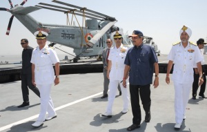 The Union Minister for Defence Manohar Parrikar visiting the Headquarters of Western Naval Command in Mumbai earlier in April, 2015. The Chief of Naval Staff, Admiral R.K. Dhowan and the Flag Officer Commanding-in-Chief, Western Naval Command, Vice Admiral S.P.S. Cheema are also seen. [Representative photo]