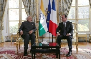 President of France Francois Hollande and Indian Prime Minister Narendra Modi in Paris