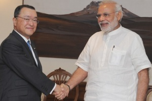 Minister for Economy, Trade and Industry, Japan, Yoichi Miyazawa called on Indian Prime Minister Narendra Modi, in New Delhi on April 29, 2015.