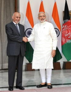 Prime Minister Narendra Modi with President of the Islamic Republic of Afghanistan Dr. Mohammad Ashraf Ghani, at Hyderabad House, in New Delhi on April 28, 2015.