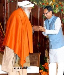 Sadguru Jaggi Vasudev Maharaj and Madhya Pradesh Chief Minister Shivraj Singh Chouhan