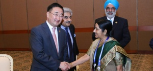 India's External Affairs Minister Sushma Swaraj meets Foreign Minister Lundeg Purevsuren of Mongolia on the sidelines of 60th Asian African Summit in Jakarta, Indonesia