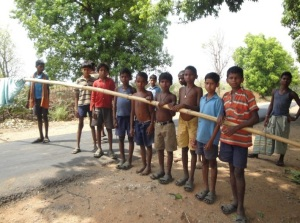Dantewada in Bastar area of Chhattisgarh State: Maoists, alos called the naxalites, use children to make such barriers to collect toll on highways.