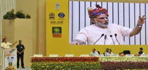 Prime Minister Narendra Modi addressing at the launching ceremony of DD Kisan Channel, in New Delhi on May 26, 2015.
