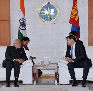 Prime Minister Narendra Modi meeting Prime Minister of Mongolia, Chimed Saikhanbileg, at the State Palace, in Mongolia on May 17, 2015.
