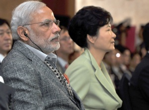 Prime Minister Narendra Modi and the President of Republic of Korea, Ms. Park Geun-hye at the CEOs Forum and Business Meet, in Seoul, South Korea on May 19, 2015.