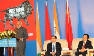 Prime Minister Narendra Modi delivering his address at the India-China Business Forum, in Shanghai, China on May 16, 2015