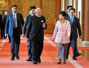 Prime Minister Narendra Modi and the President of Republic of Korea Ms. Park Geun-hye ahead of the Press Statements, in Seoul, South Korea on May 18, 2015.