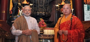 Prime Minister visits Daxingshan temple in Xian, China Photo Courtesy : Shiv Raj / Photo Division