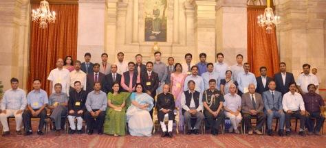 President Pranab Mukherjee with the In-Residence Inspired Teachers from Central Universities, at Rashtrapati Bhavan, in New Delhi on 11 June 2015.