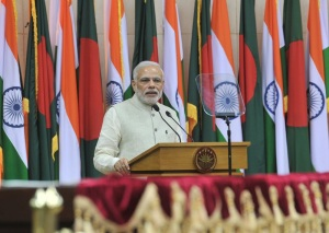 Prime Minister Narendra Modi giving his statement to media at the Joint Press Briefing, in Dhaka, Bangladesh on 6 June  2015