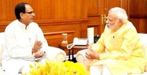 Madhya Pradesh Chief Minister Shivraj Singh Chouhan called on Prime Minister Narendra Modi at his South Block office in New Delhi on June 4