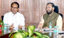 Madhya Pradesh CM Shivraj Singhi Chouhan met Union Minister of State for Environment, Forests and Climate Change Prakash Javadekar in New Delhi on June 4, 2015