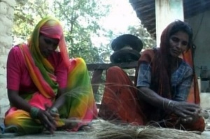 village women making ropes from forest produce