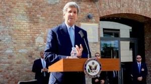 US Secretary of State John Kerry addresses the international press corps in Vienna, Austria on July 5, 2015