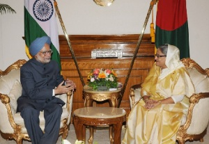 The then Prime Minister Manmohan Singh met Prime Minister of Bangladesh Sheikh Hasina in Dhaka, Bangladesh on September 06, 2011