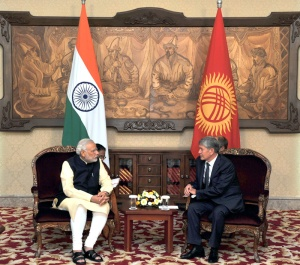 Prime Minister Narendra Modi in a restricted meeting with President of Kyrgyz Republic Almazbek Atambayev, at Ala-Archa State Residence, in Bishkek, Kyrgyzstan on July 12, 2015.