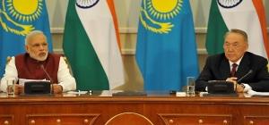 Prime Minister Narendra Modi and President Nursultan Nazarbayev of Kazakhstan addressing media-persons