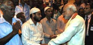 Prime Minister meets Indian workers at the ICAD Residential City in Abu Dhabi