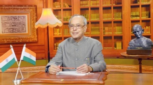 President Pranab Mukherjee addressing the Nation on the eve of 69th Independence Day, in New Delhi on August 14, 2015.