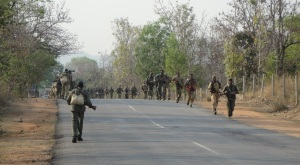 Security drill in naxalite affected Kanker-Bastar (photo by Lalit Shastri)