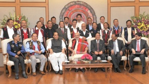 The Prime Minister, Shri Narendra Modi in a group photo at the signing ceremony of historic peace accord between Government of India & NSCN, in New Delhi on August 03, 2015.