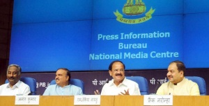 Union Minister for Urban Development, Housing and Urban Poverty Alleviation and Parliamentary Affairs M. Venkaiah Naidu holding a press conference to announce the list of Smart City Nominees, in New Delhi on August 27, 2015. Union Minister for Chemicals and Fertilizers Ananth Kumar and the Director General (M&C), Press Information Bureau A.P. Frank Noronha are also seen.