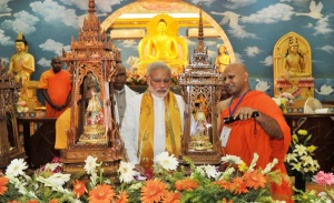 Prime Minister Narendra Modi at the Mahabodhi Temple, in Bodh Gaya in Bihar on September 05, 2015.