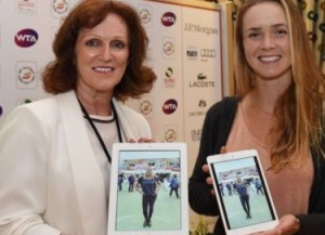 tennis player Elina Svitolina choose the best-dressed fan at the ladies day at the Dubai Duty Free Tennis Championship