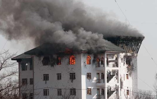 The EDI building at Pampore during the encounter with Terrorists in February 2016 (representative photo)
