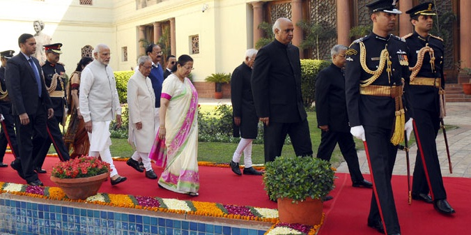 President Pranab Mukherjee, Prime Minister Narendra Modi, Speaker, Lok Sabha Sumitra Mahajan, Vice President Mohd. Hamid Ansari, Union Minister for Urban Development, Housing and Urban Poverty Alleviation and Parliamentary Affairs M. Venkaiah Naidu arrive for the opening day of the Budget Session of Parliament, in New Delhi on February 23, 2016