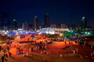 ABU DHABI, UNITED ARAB EMIRATES, Feb. 19, 2015:   People peruse the exhibitions and enjoy festival offerings while they tour the activities at the Qasr al Hosn Festival 2015 on Thursday Feb. 19, 2015. (Photo / Silvia Razgova)