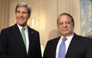 US Secretary of State John Kerry with Pak Prime Minister Nawaj Sharif