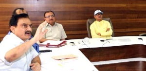 Madhya Pradesh chief Minister Shivraj Singh Chohan holding a meeting with senior State officers to promote animal husbandry, fisheries and sericulture to increase farmer's income by 100 per cent in next five years.